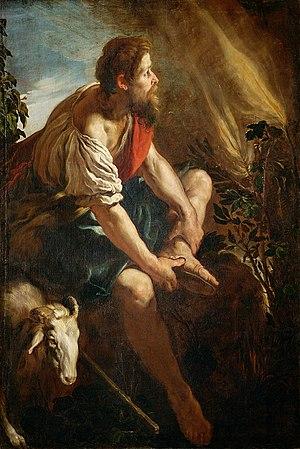 موسى يخلع نعليه عند العليقة الملتهبة؛ بريشة دومنيكو فيتي، القرن السابع عشر.
