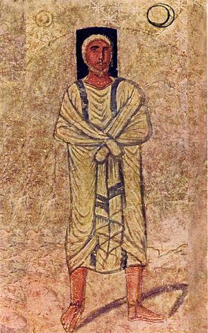 موسى ضمن جداريات كنيس دورا أوربوس قرب دير الزور، أقدم كنيس باقي في العالم.