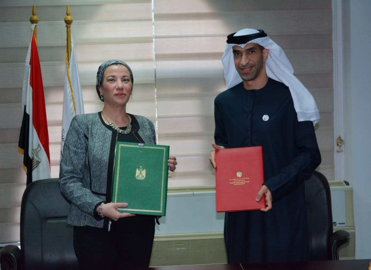 وزيرا البيئة المصري والاماراتي يوقعان البرنامج التنفيذي المشترك الأول لحماية البيئة (1)