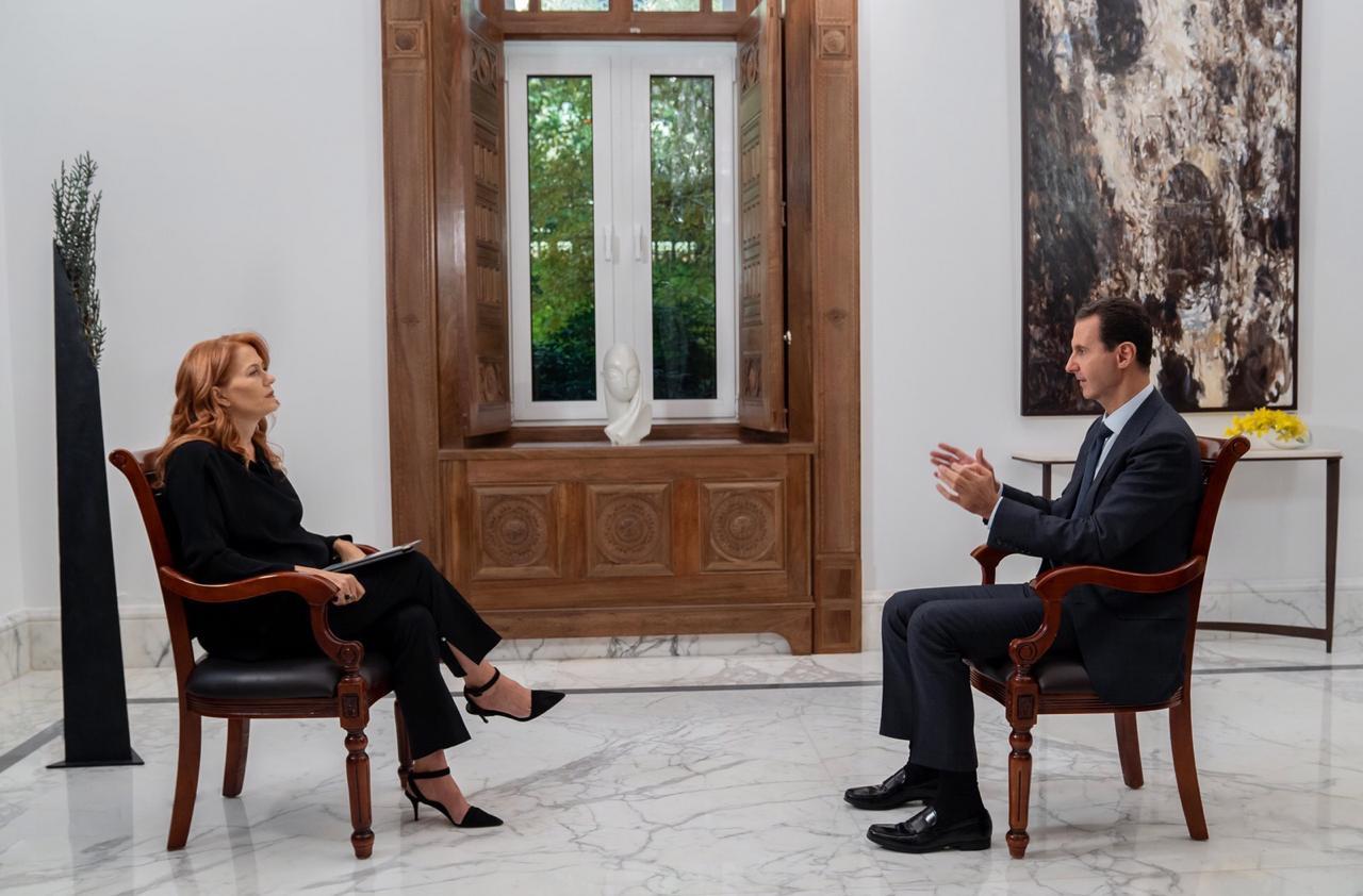 بشار الأسد فى حواره مع محطة Rai News 24 الإيطالية