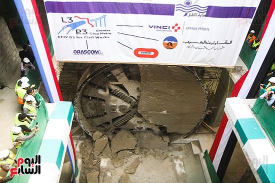 رئيس الوزراء يشهد دخول ماكينة الحفر العميق لمحطة ماسبيرو (7)