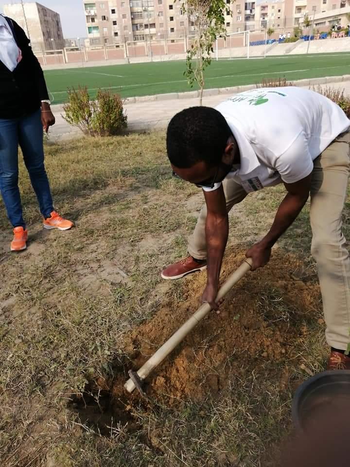 متطوعو الاتحاد الافريقى يزرعون 100 شجرة بمنتدى 15 مايو (27)