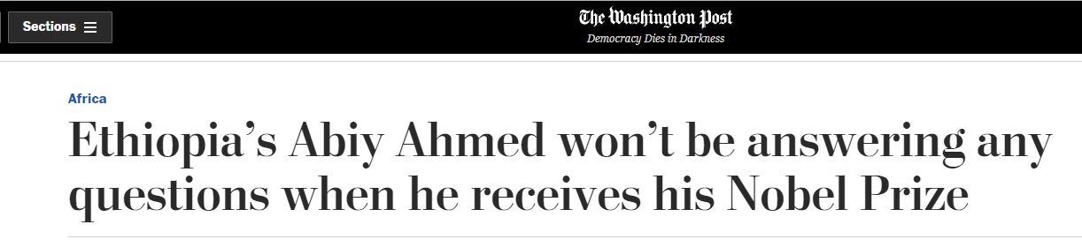 """تقرير """"واشنطن بوست"""" عن رئيس وزراء إثيوبيا آبى أحمد"""