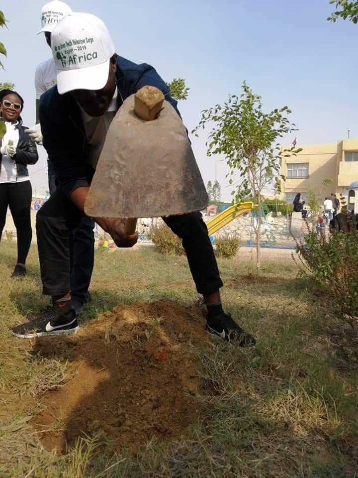 متطوعو الاتحاد الافريقى يزرعون 100 شجرة بمنتدى 15 مايو (1)