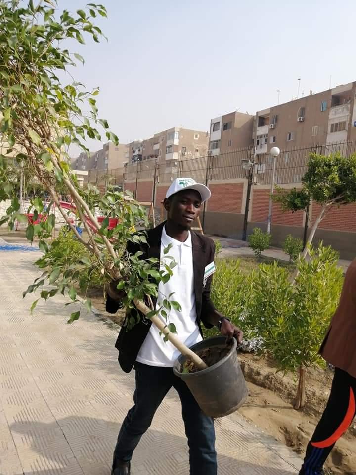متطوعو الاتحاد الافريقى يزرعون 100 شجرة بمنتدى 15 مايو (25)