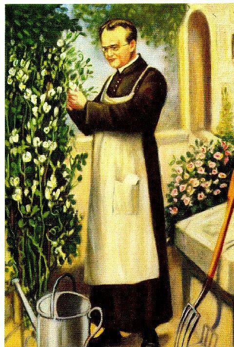 لوحة تجسد جريجور مندل خلال اجرائه لأبحاث على البازيلاء