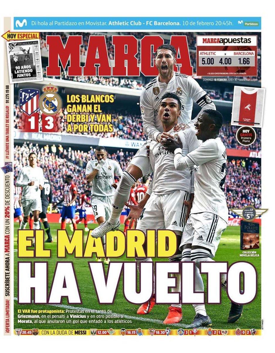 4a4c588e09255 الصحافة الإسبانية تحتفل بعودة ريال مدريد لصراع الليجا.. فيديو وصور ...