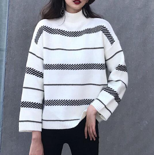 My-own-way-Korean-style-2019-fashionable-rabbit-velvet-striped-half-neck-sweater-ladies-trend-casual