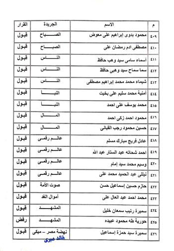 نتيجة القيد لجدول تحت التمرين بنقابة الصحفيين  (19)