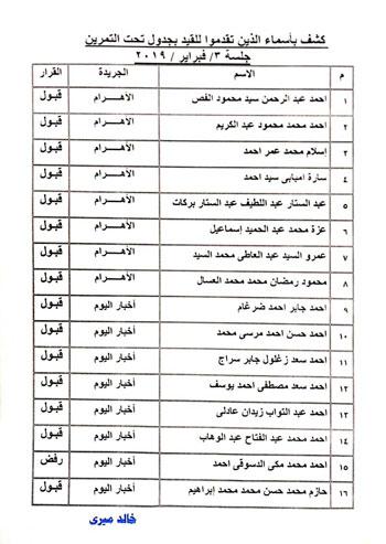 نتيجة القيد لجدول تحت التمرين بنقابة الصحفيين  (2)