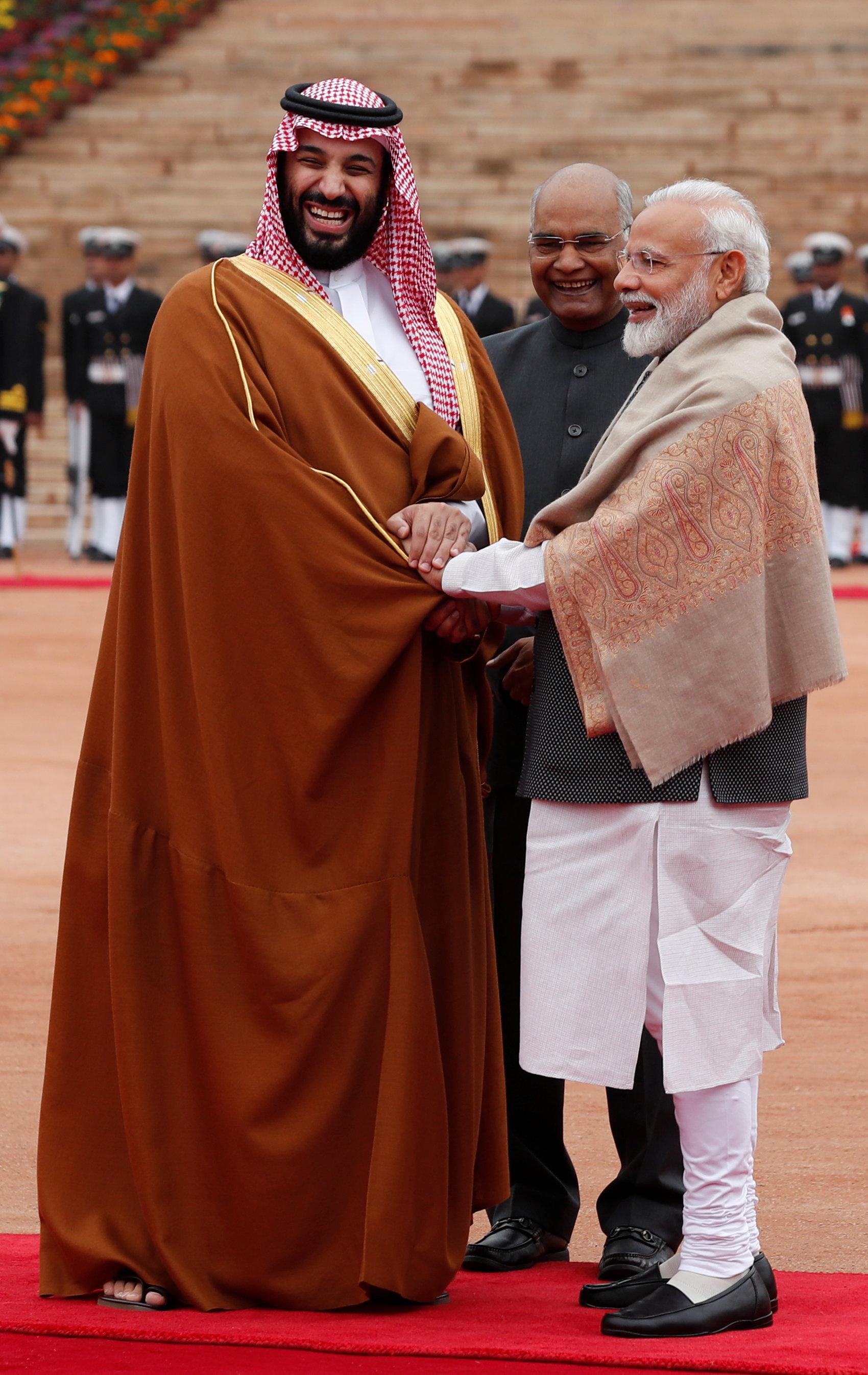 ولى العهد ورئيس الهند ورئيس الوزراء مودى