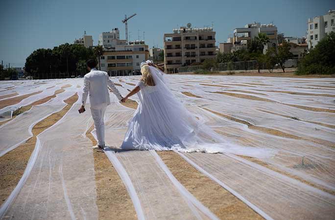 العريس والعروس وسط أطول طرحة فى العالم (1)