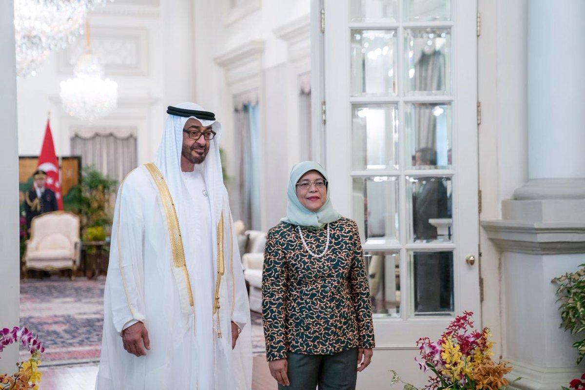 رئيسة سنغافورة تستقبل ولى عهد أبوظبى محمد بن زايد (5)