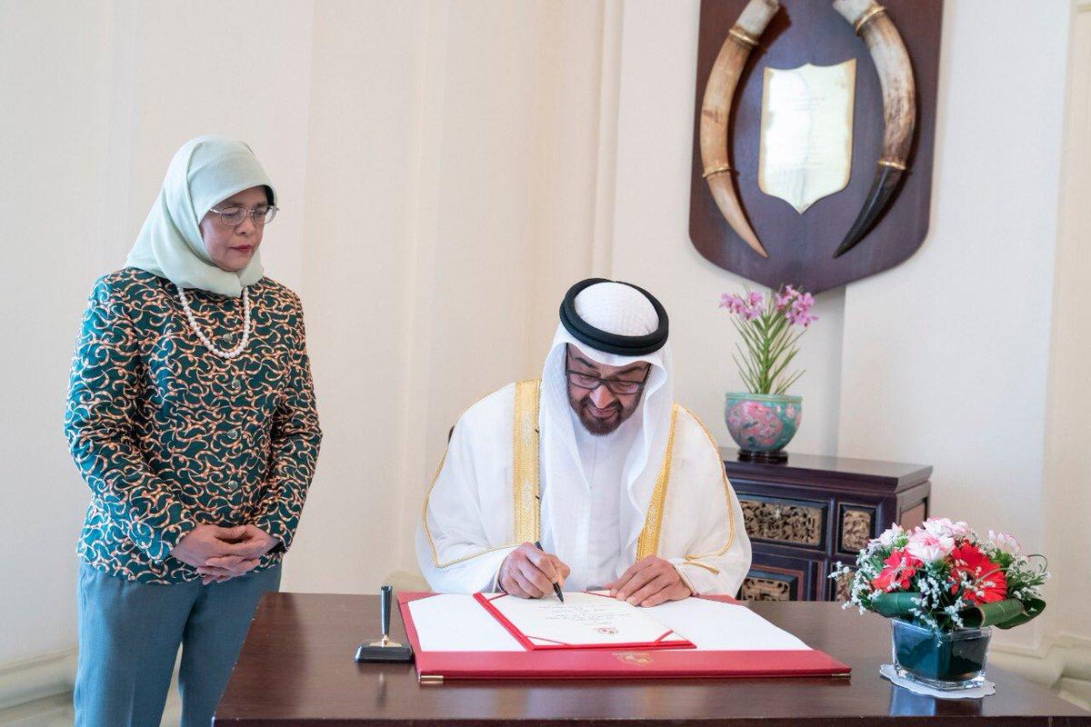 رئيسة سنغافورة تستقبل ولى عهد أبوظبى محمد بن زايد (7)