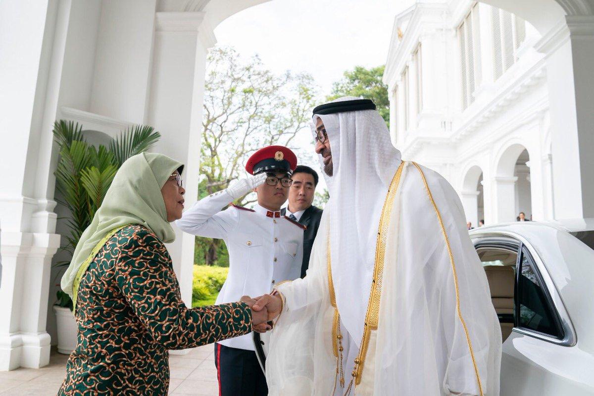 رئيسة سنغافورة تستقبل ولى عهد أبوظبى محمد بن زايد (2)