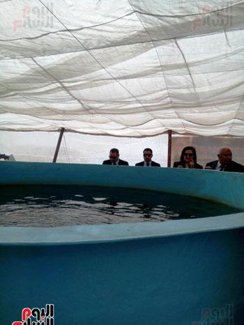 وزيرة التخطيط تتفقد مشروع الاستزراع السمكى بالوادى الجديد (1)