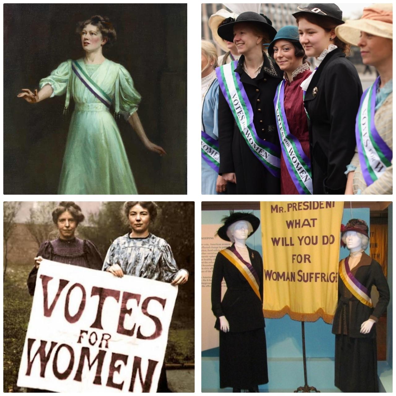 سنة 1900 استخدام الألوان للطالبة بحقوق المرأة