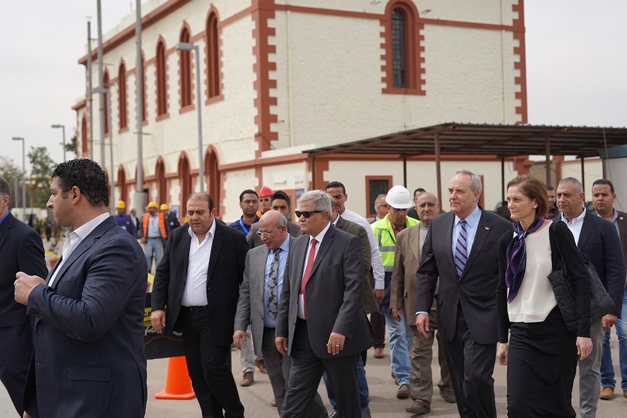 HCWW Chairman Raslan Gives CDA Goldberger And USAID MD Carlin Tour Of Rod AlFarag Water Treatment Plant