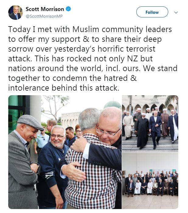 تدوينة رئيس الوزراء الأسترالى سكوت موريسون