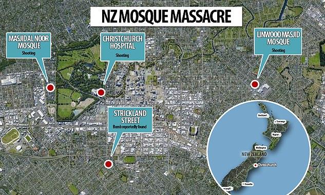 خريطة لموقعى المسجدين المستهدفين فى العمل الإرهابى بنيوزيلندا