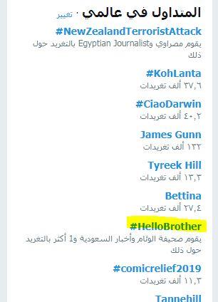 هاشتاج HelloBrother يتصدر عالميا