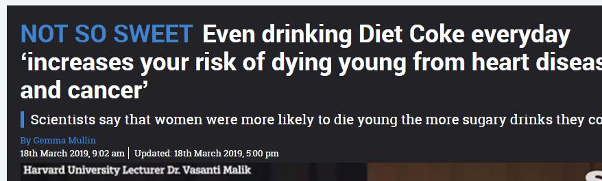 تناول المشروبات الغازية يوميا يزيد خطر الوفاة المبكرة الناتج عن امراض القلب والسرطان