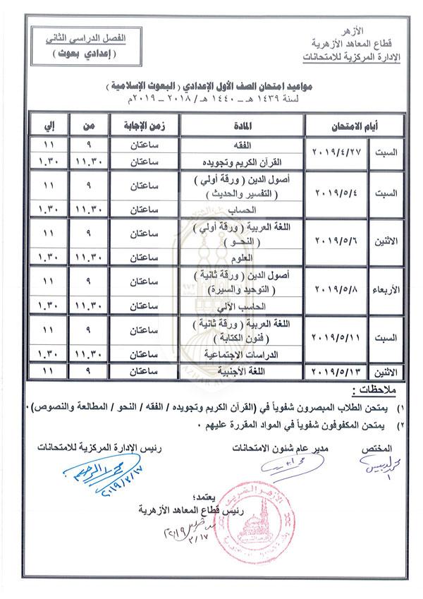الأول الإعدادي بعوث إسلامية الفصل الدراسي الثاني 2018-2019