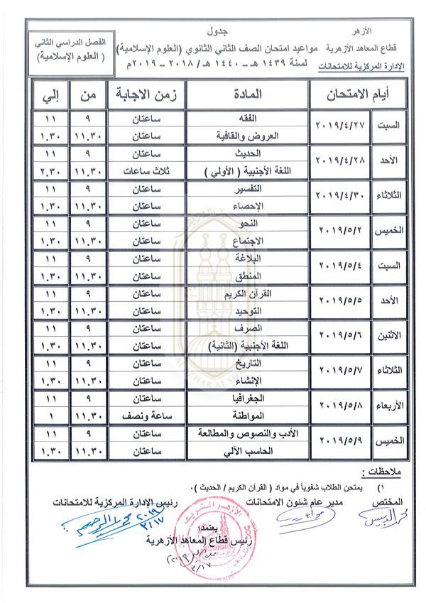 الثاني الثانوي علوم إسلامية الفصل الدراسي الثاني 2018-2019