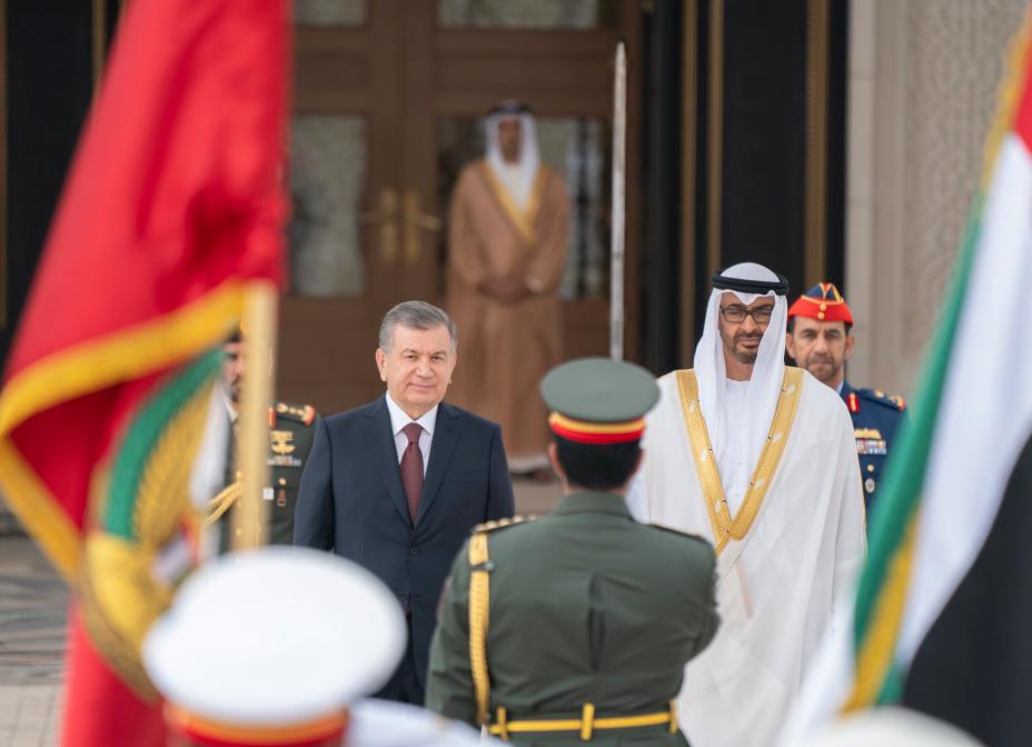 الشيخ محمد بن زايد يستقبل رئيس أوزربكستان فى قصر الرئاسة بأبوظبى