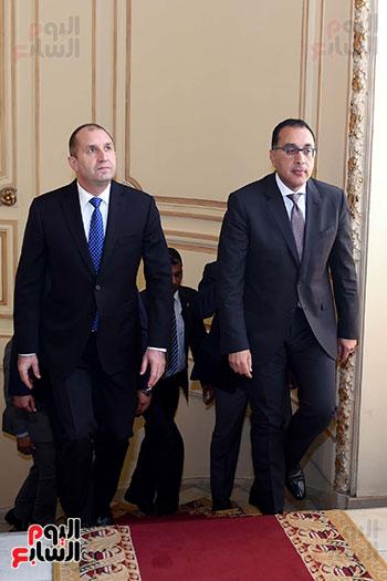 مصطفى مدبولى رئيس مجلس الوزراء ورومن راديف الرئيس البلغارى (11)