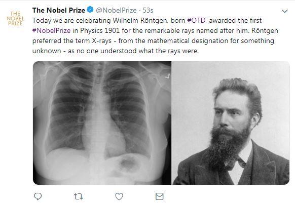 جائزة نوبل تحتفل بذكرى ميلاد مكتشف أشعة إكس
