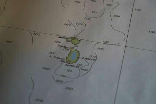 خريطة المكان المقرر الغطس فيه