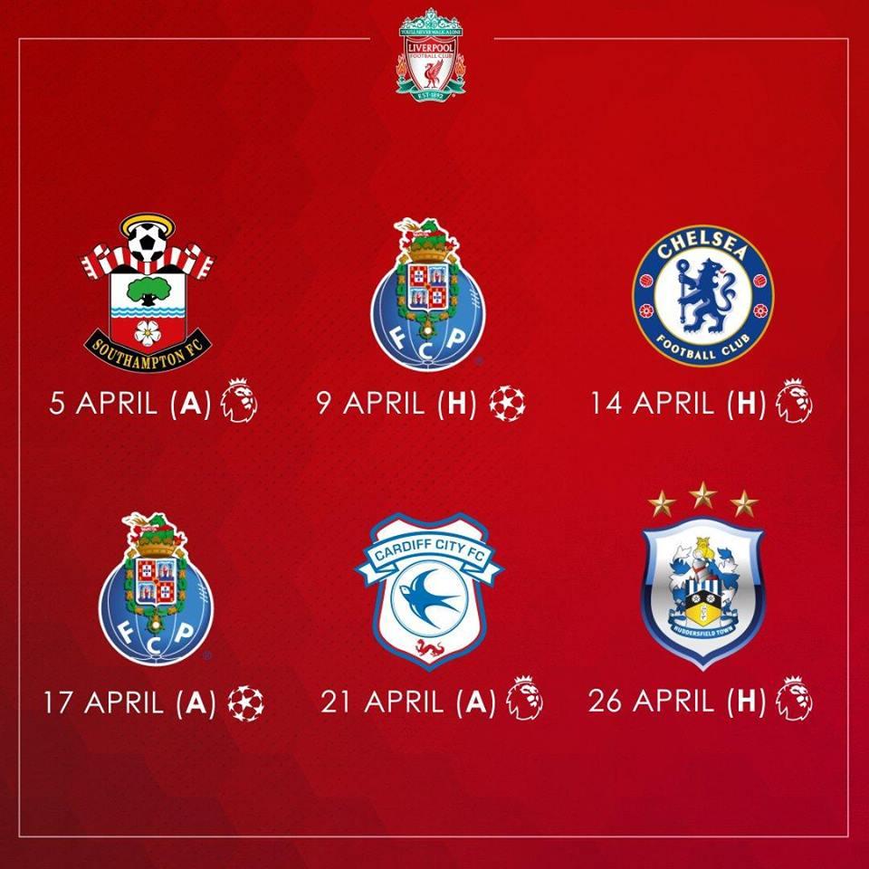 مباريات ليفربول خلال شهر أبريل الجارى
