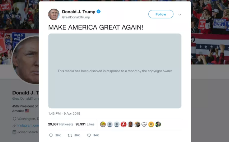 Twitter left a video posted by Trump for violation of intellectual property rights