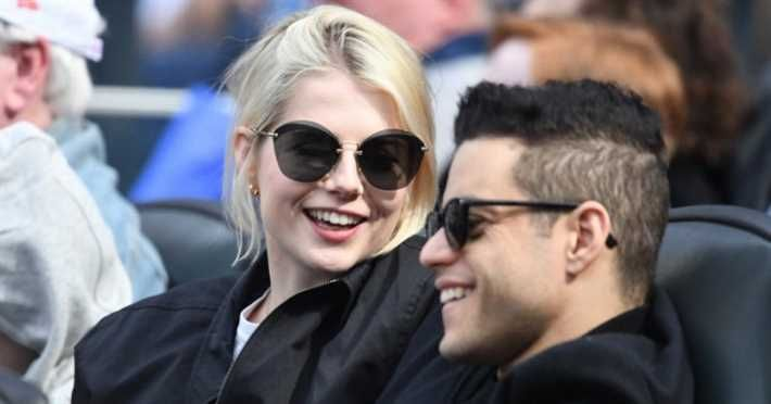 Rami Malik and her lover at a American football match
