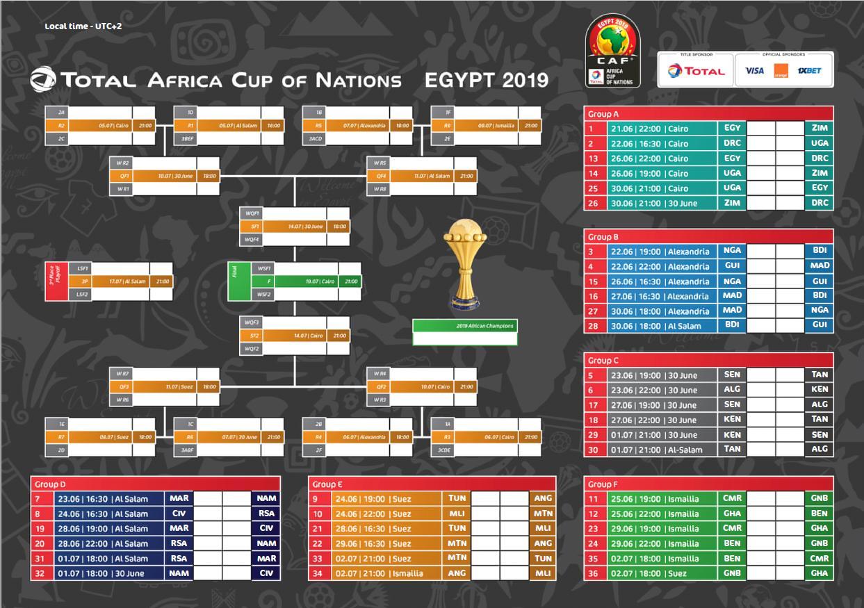 المواعيد الكاملة لمباريات الأمم الأفريقية