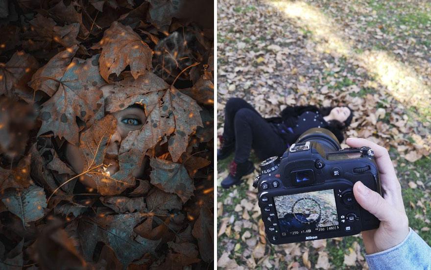 استخدام أوراق الشجر فى التصوير الفوتوغرافى