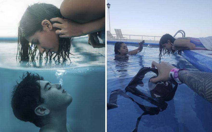 التصوير فى حمام السباحة