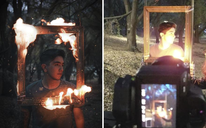 النيران والإطار الخشبى فى التصوير الفوتوغرافى