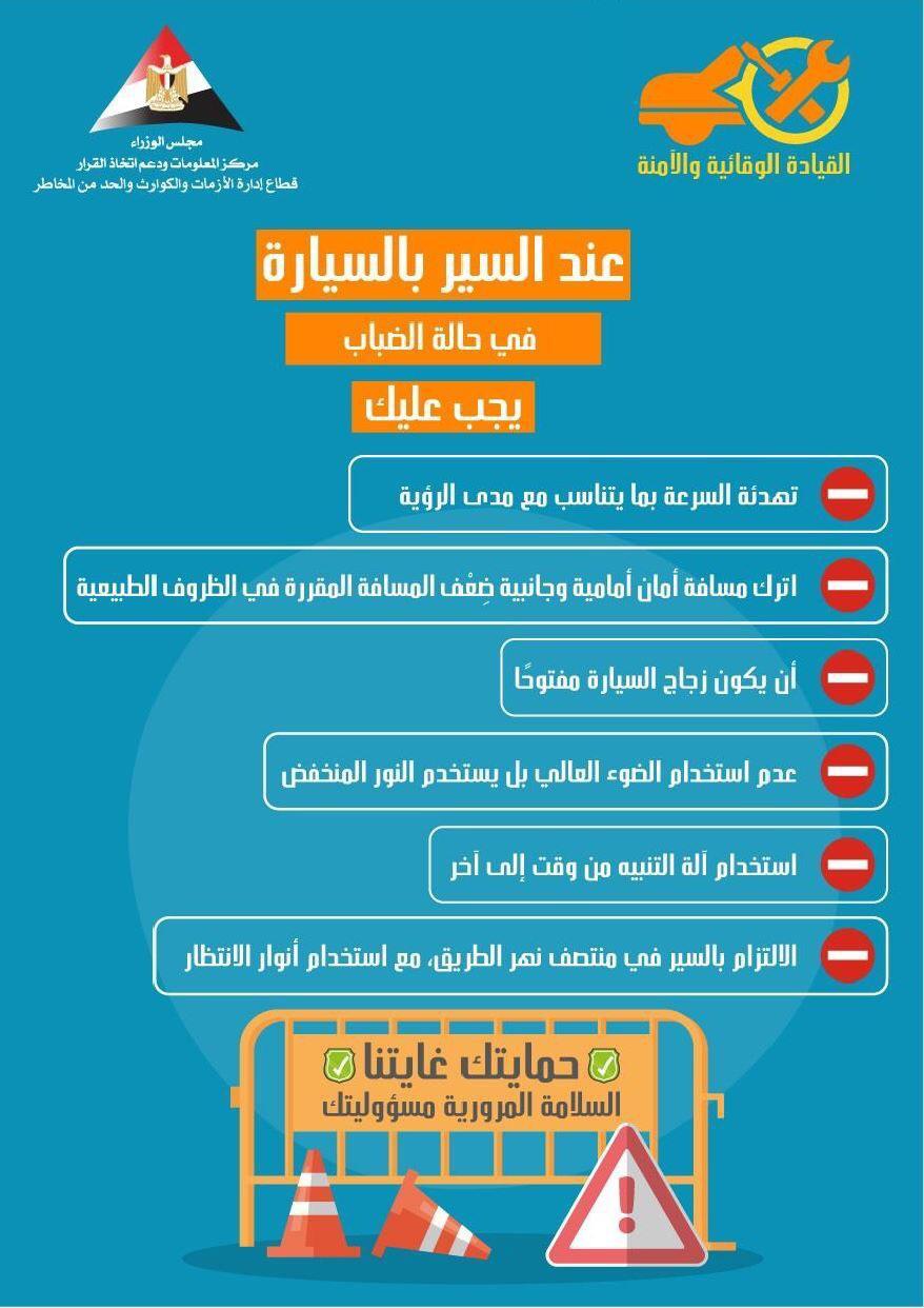 إرشادات القيادة الآمنة فى حالة سقوط الأمطار (2)