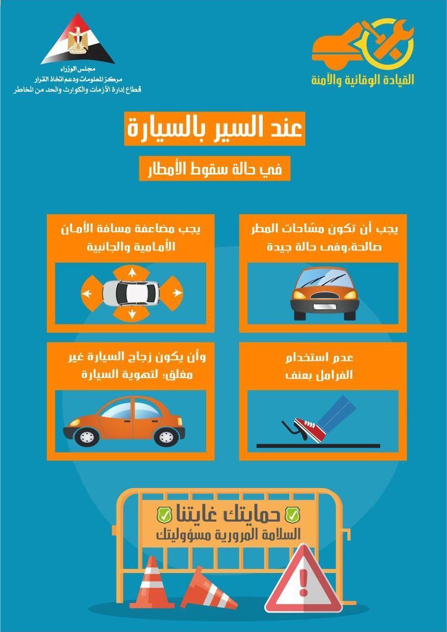 إرشادات القيادة الآمنة فى حالة سقوط الأمطار (4)