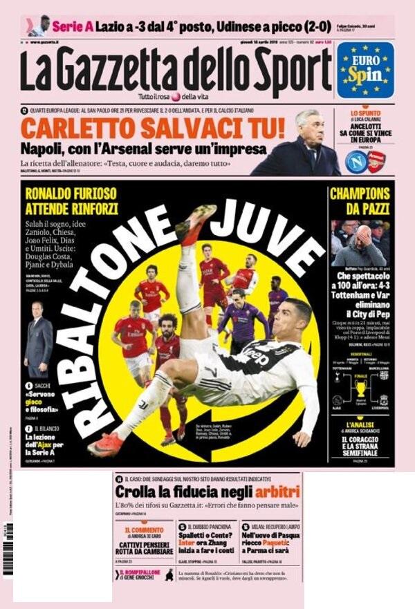 غلاف صحيفة لاجازيتا ديللو سبورت