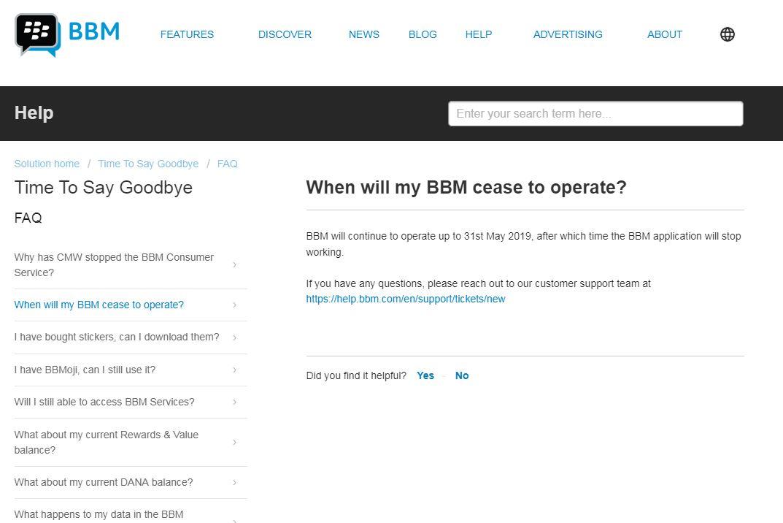 موقع BBM يعلن توقفه فى مايو
