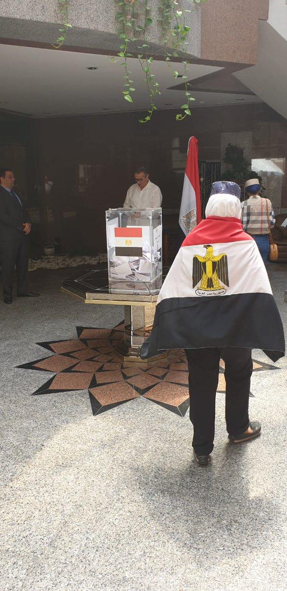 مواطن يحمل علم مصر خلال المشاركة فى الاستفتاء