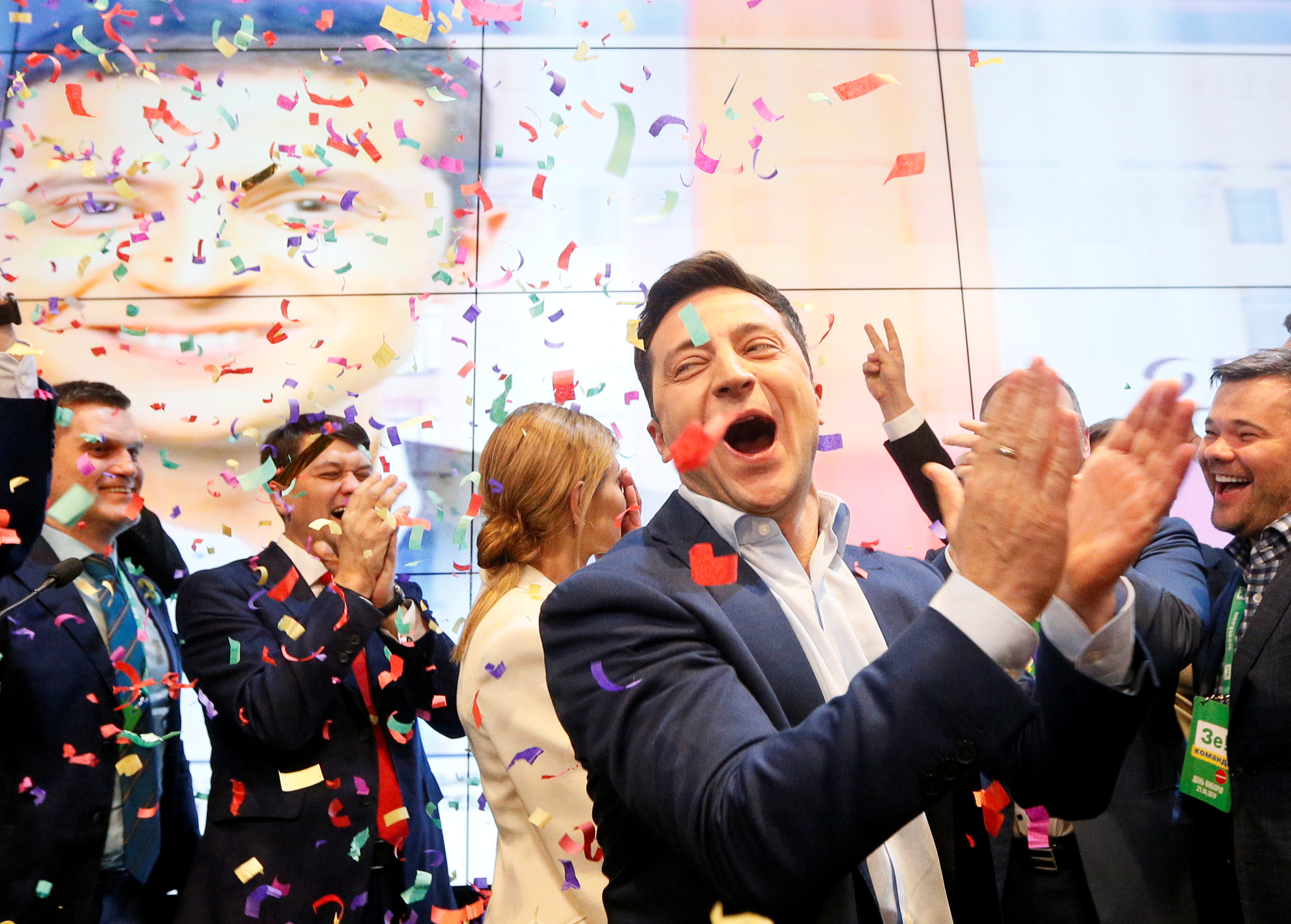 Volodymyr Zelensky celebrates