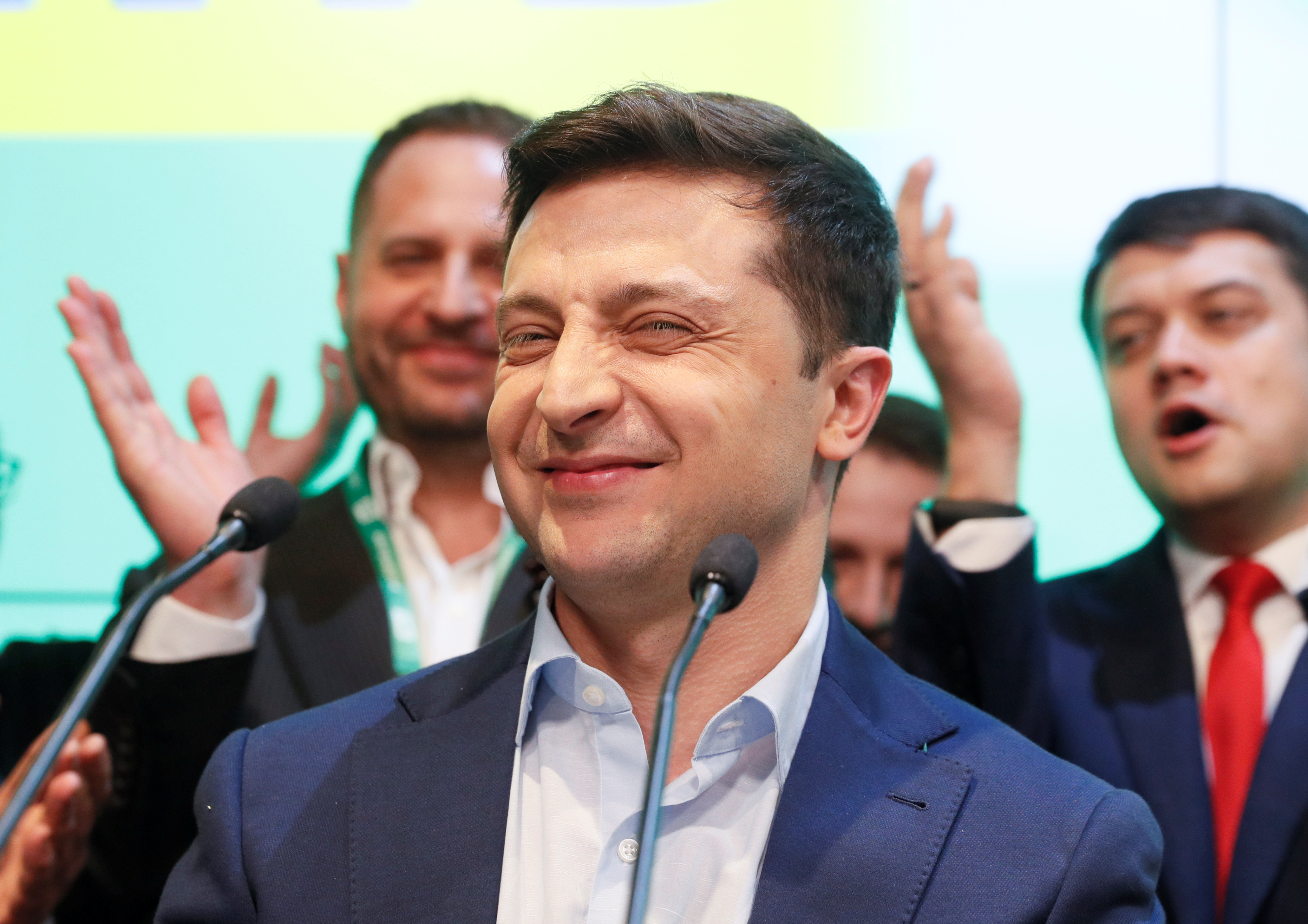 Zelensky smiles to his supporters