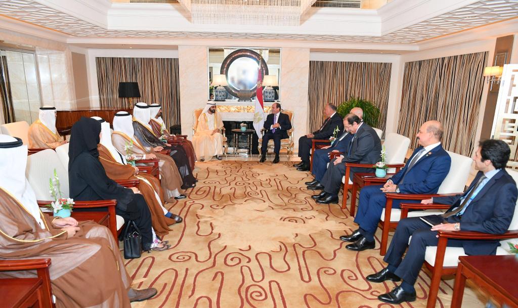 الرئيس السيسى يستقبل فى مقر إقامته ببكين الشيخ محمد بن راشد (3)