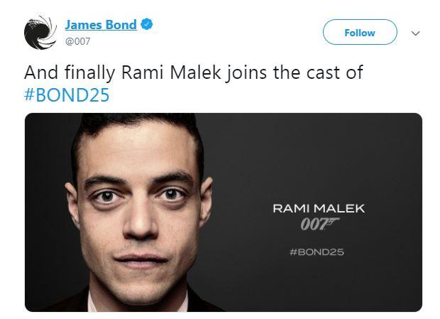 رامى مالك ينضم لفريق جيمس بوند 25