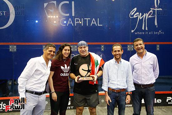 عمرو منسي ونور الشربيني يشهدان توزيع الجوائز ببطولة الجونة للرواد للأسكواش (4)