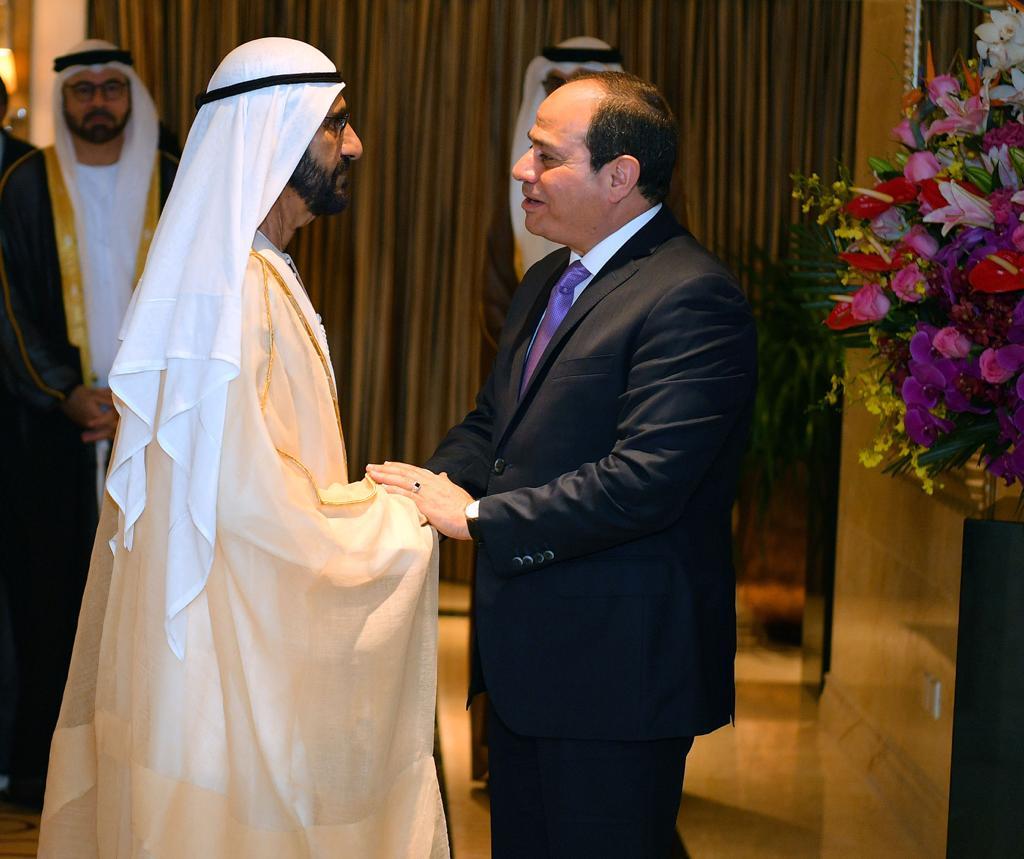 الرئيس السيسى يستقبل فى مقر إقامته ببكين الشيخ محمد بن راشد (2)